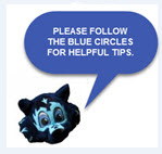 """Seawolf Logo, """"Please follow the blue circles for Helpful Tips."""""""